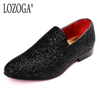 LOZOGA Men Casual Shoes Handmade Paillette Party Shoes Summer Leisure Shoes European Fashion Loafers Breathable Mens
