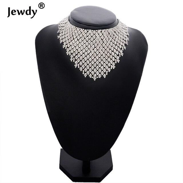 Jewdy Rhinestone Choker Luxury Statement Wedding Chocker Big Tassel Necklace For Women Flower Collier 2017 Fashion Jewellery 2