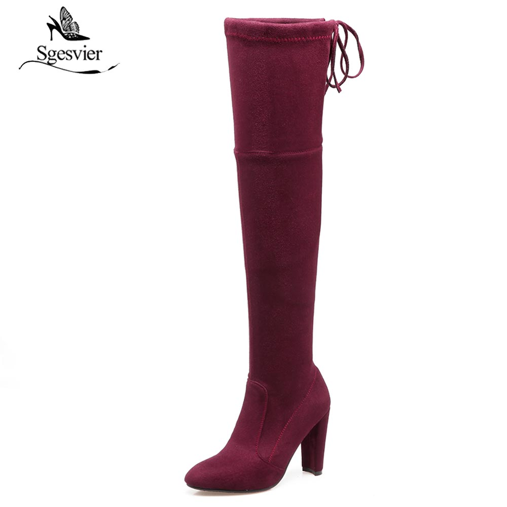 Sgesvier New Women Thigh High Boots Fashion Over The Knee Boots Sexy Platform High Heels Ladies Party Stretch Shoes Woman B407 memunia big size 34 43 over the knee boots for women fashion shoes woman party pu platform boots zip high heels boots female