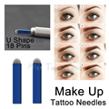 50 PCS U Shape 18 Pins Tattoo Needles Blue Blades Permanent Makeup Eyebrow Microblading Manual Tattoo Supplies