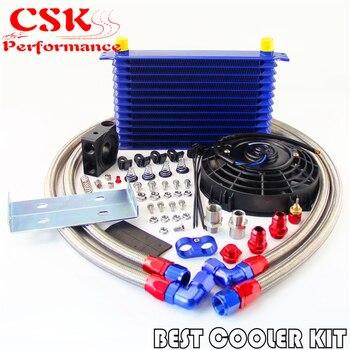 "13 Row Trust Oil Cooler Thermostat Sandwich Plate Kit+7"" Electric Fan kit Gold / Black / Blue"