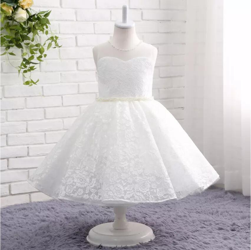 Real Picture O-Neck A-line Flower Girl Dresses Lace With Pearls Handmade Flower First Communion Dress Vestidos De Desfile Pagean new holy pink flower girls dresses a line lace appliques 2017 wedding girl wear first communion dress vestidos de long sleeves