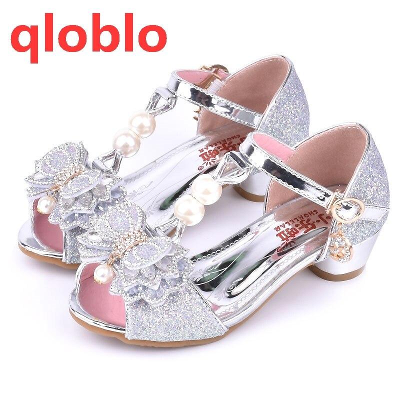 qloblo 2018 new spring summer princess baby sandal high heels children  shoes summer Pink Gold Silver sandals for children bdc79c874631