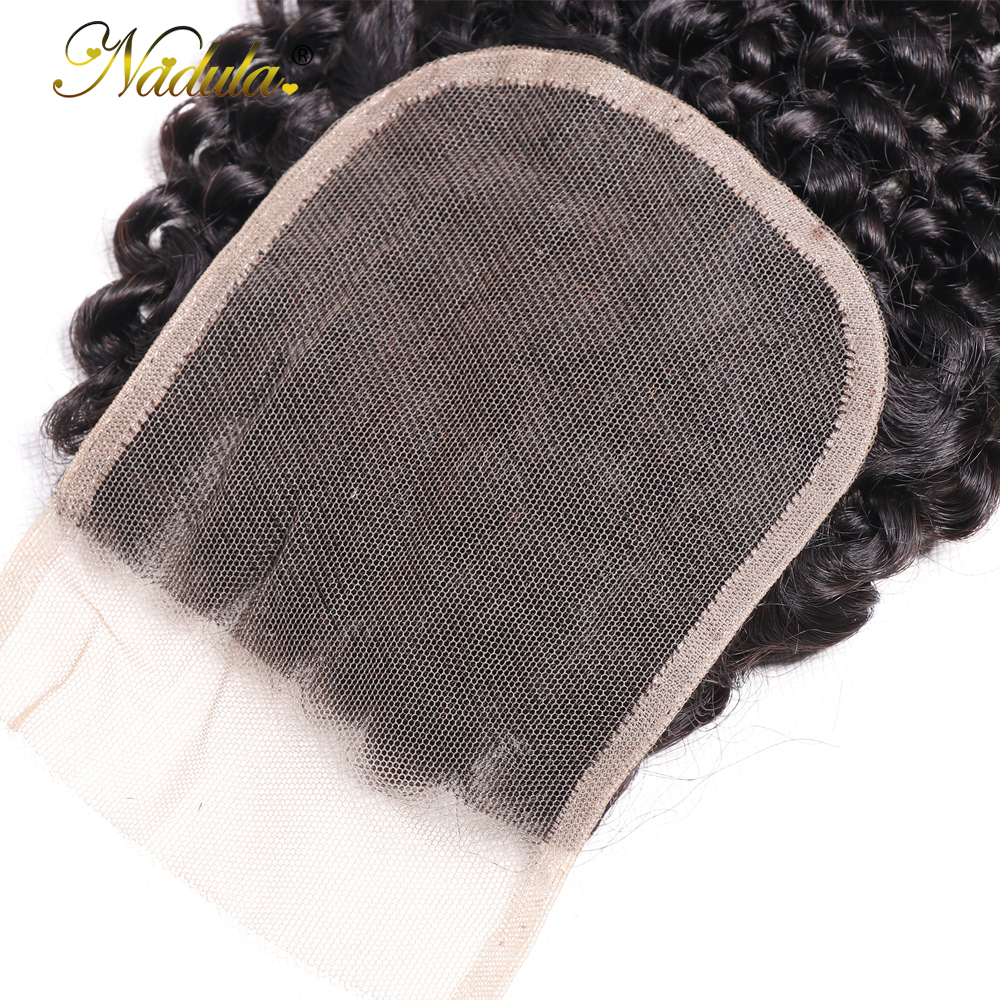 Nadula Hair Kinky Culry  Closure 10-20inch Swiss Lace Closure 4*4 Lace Closure 100% Human  Hair Natural Color 5