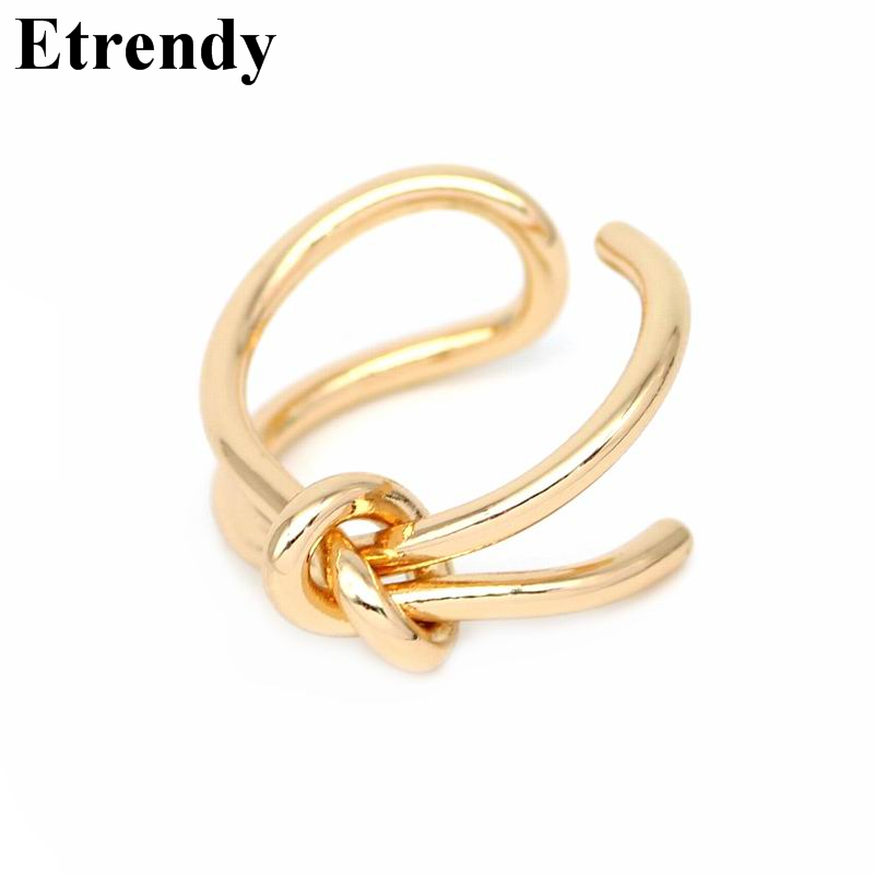Handmade Knot Design Adjustable Rings For Women Bijoux Metalic Gold-color Open Ring Fashion Jewelry Cute Gift