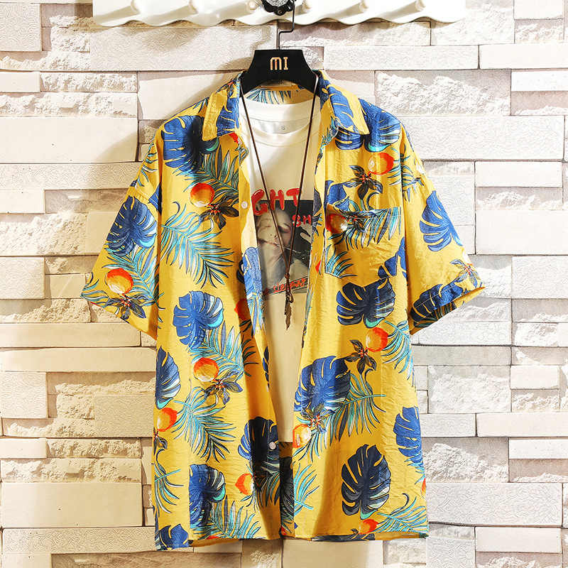 Camiseta de playa de verano de marca de impresión de moda para hombre, camisas casuales holgadas florales de manga corta, talla asiática, M-4XL, 5XL, hawaiana