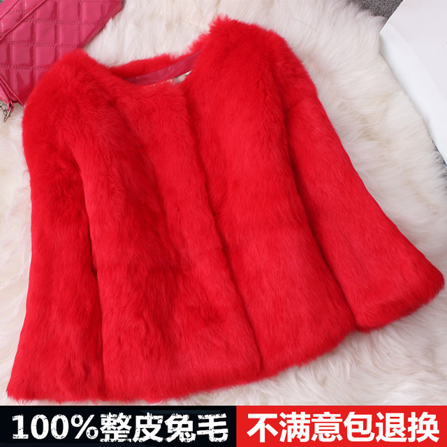 Rabbit fur coat leather coat short paragraph coat spring and autumn warm