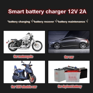 Image 2 - 12V 2A Smart Car Motorcycle Battery Charger Full Automatic LED Display 12V Volt For Moto Auto Lead Acid AGM GEL Accumulators