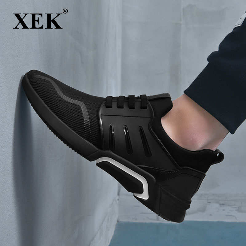 XEK 2018 New Brand Fashion BLACK Male Sneakers Casual Shoes Flats Gym Trainers Shoes Men air Mesh Breathable Shoes ZLL437 2016 new summer men shoes lightweight women casual shoes comfort trainers gym shoes for men breathable mesh fashion flats