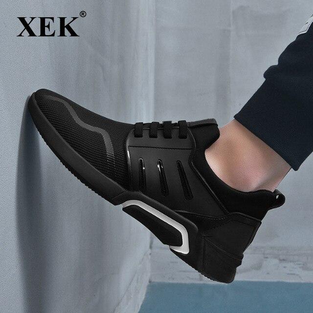 XEK 2018 Nova Marca de Moda PRETO Masculino Calçados Casuais Das Sapatilhas Flats Ginásio Formadores Homens Sapatos air Mesh Respirável Sapatos ZLL437