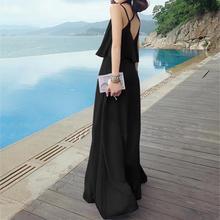 Yfashion Sexy Black Long Beach Dress Women Spaghetti Strap Backless Slim Maxi Summer Vestidos Falbala