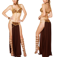 2017 Hot Adult Women Party Halloween Costumes Star Wars Cosplay Sexy Princess Leia Slave Costume Fancy