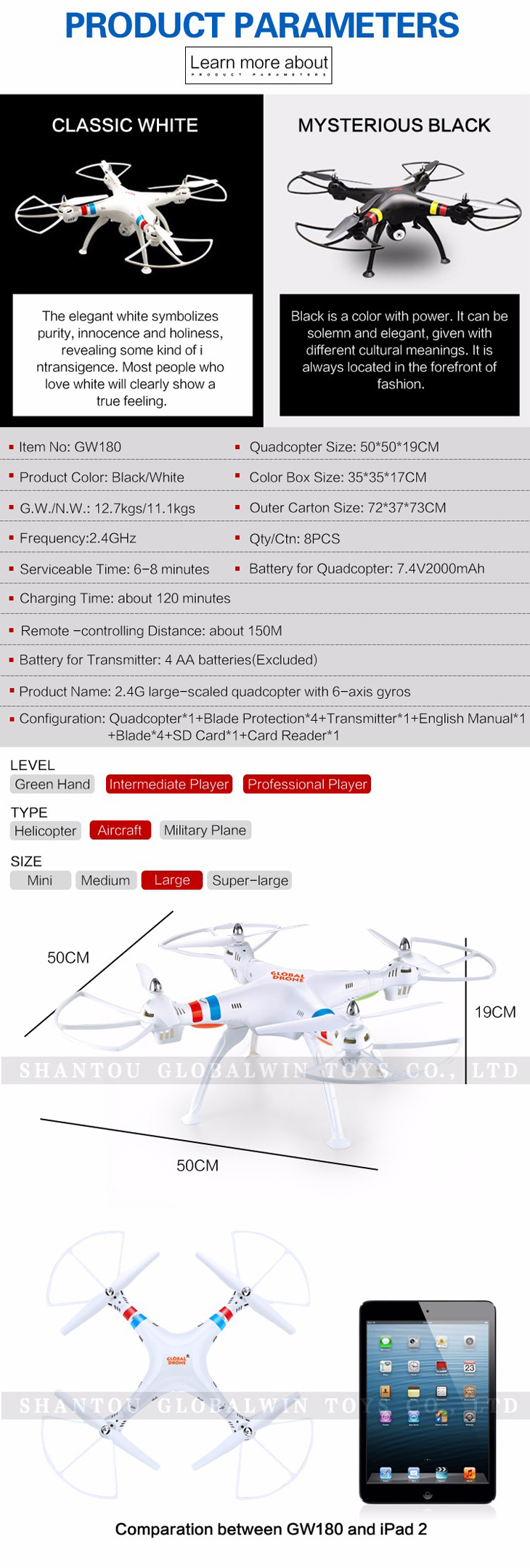 3Global Drone GW180 Dron with Camera WIFI HD FPV Hovering Quadrocopter Can Carry 4K Camera Drones