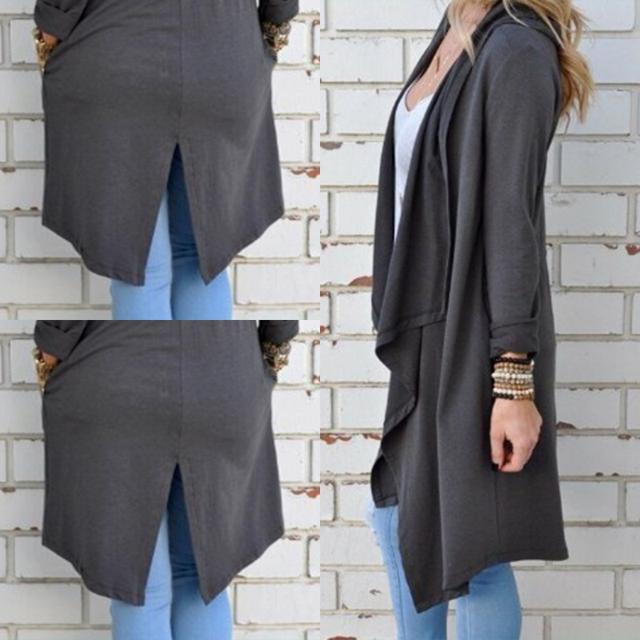 Women Cardigan Autumn Long Sleeve Irregular Long Female Grey Thin Sweater Loose Ladies Coat Slim Elegant Outerwear LJ5004C