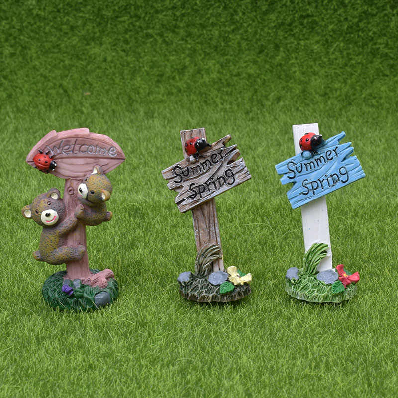 1PC Mini Welcome Stake Fairy Garden Miniature Bonsai Decor Craft Decorative Figurines Micro Landscape Doll House Accessories