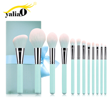 купить YALIAO 12pcs Blue Makeup Brushes Set Professional Beauty Make Up Brush Nylon Hair High Quality Foundation Powder Brushes Tools дешево