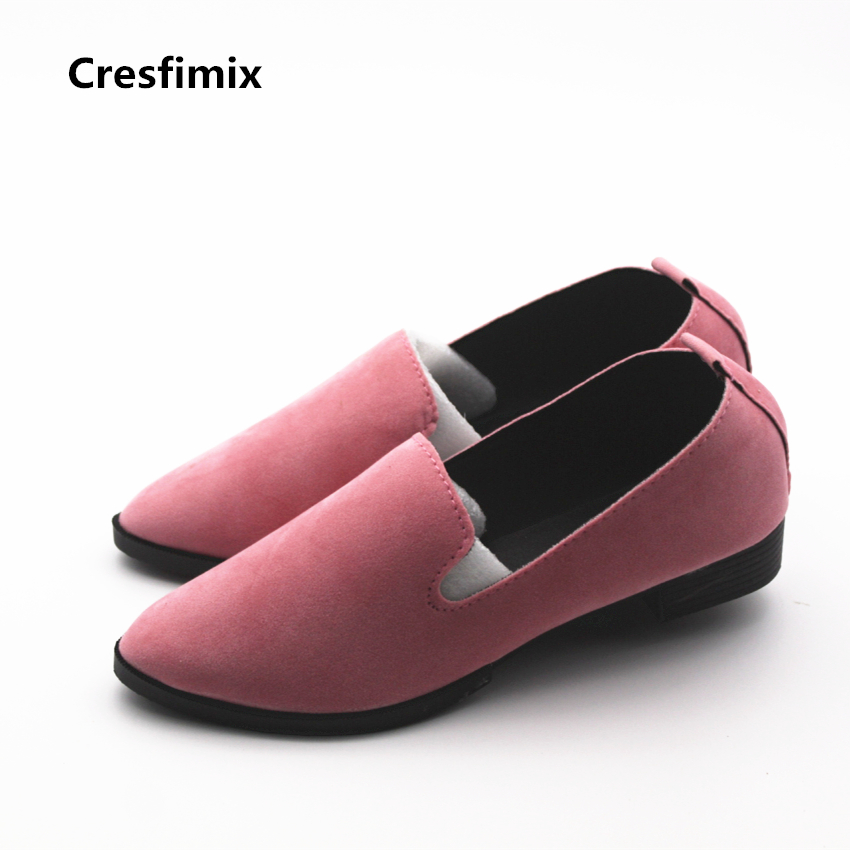 Cresfimix women fashion high quality summer slip on shoes lady leisure pink height increased shoes female pointed toe shoes cresfimix women fashion