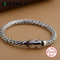 BALMORA Genuine 925 Sterling Silver Simple Fashion Bracelets For Men Gift High Quality Twist Chain Male