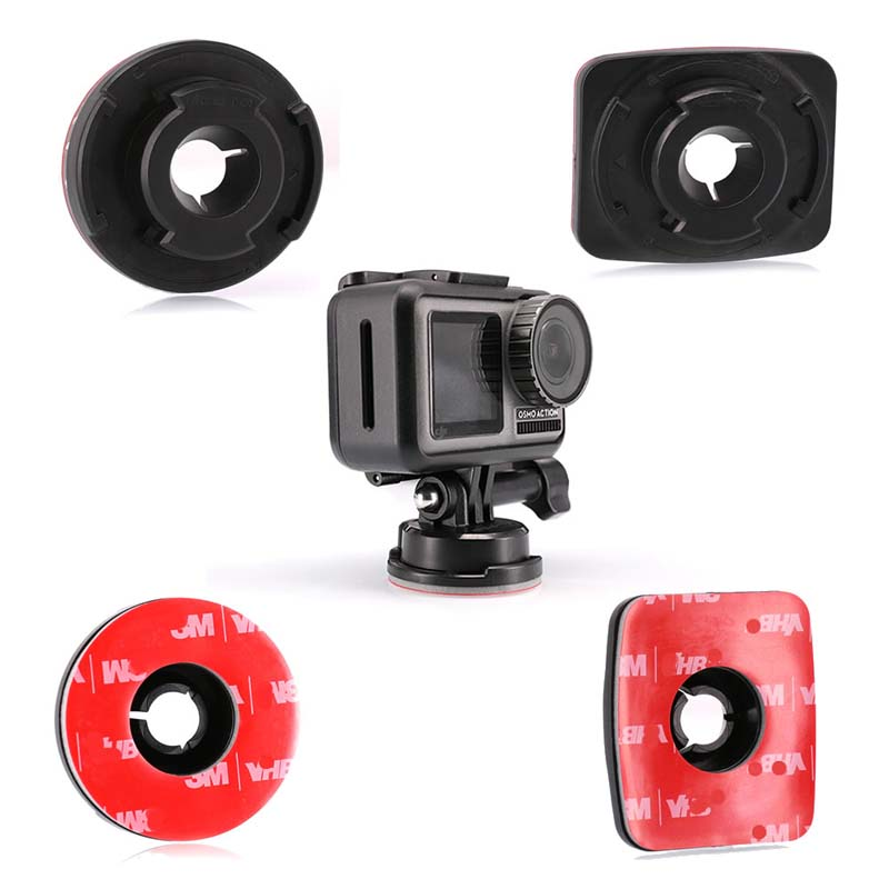 Adhesive Mounts for osmo Action 1X Curved 1X Flat Mounts Bundle Sticky Pads Tape Mount to Your Helmet Bike Board Accessories in Drone Accessories Kits from Consumer Electronics