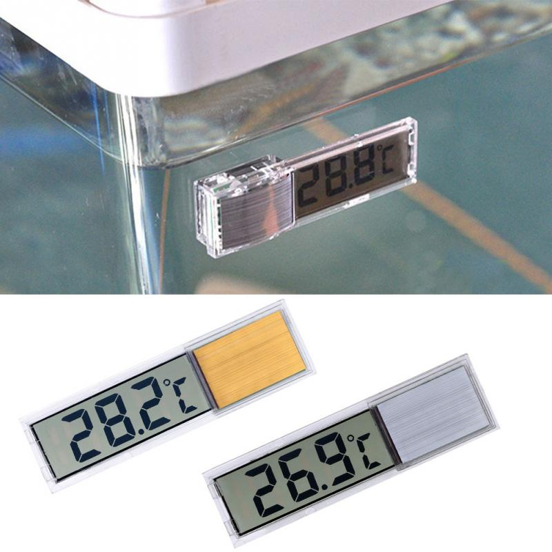 2018 New Arrival Plastic Metal 3D Digital Electronic Aquarium Thermometer Fish Tank Temp Meter Gold Silver