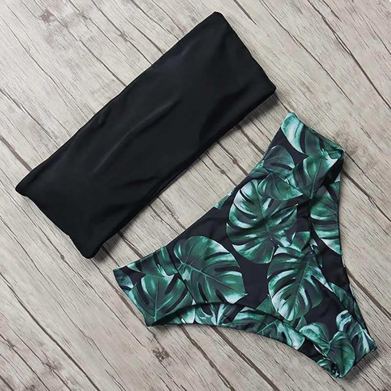 MOSHENGQI Sexy Floral Bikini Set 2019 Swimsuit Mujer High Waist Bathing Suit Black Swimwear Women Push-Up Leaf Brazilian Biquini