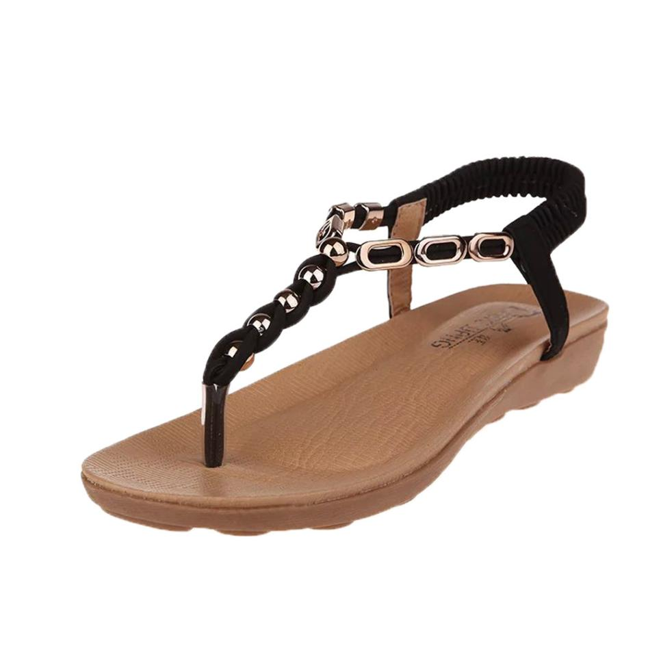 e2fb4b633 XINIU Flat Sandals Women Summer Shoes Bohemia Crystal Thick Bottom ...