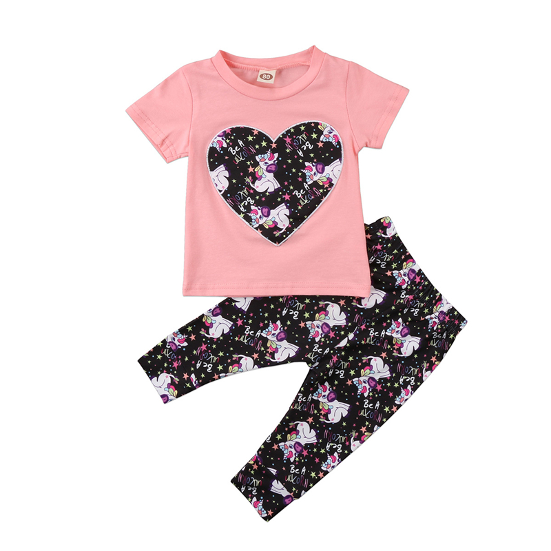 New Years Costumes For Girls Fashion Summer Kids Baby Girls Unicorn Horse Print Clothes Baby Girl Short Sleeve T-shirt+Pants