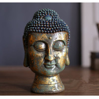 Retro Buddha Head Statue Buddha Figurine Sculptures Resin Art&Craft Southeast Asian Style Buddhism Hinduism Home Decorations R30
