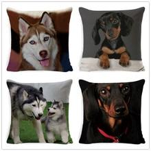 Fokusent Home Decor Lovely Husky Dog Printed Cushion Cover Linen Pillowcase Decorative Throw Pillow Cover for Sofa Cushion Case недорого