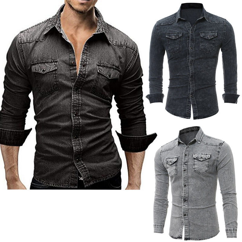 Fashion Men's Casual Long Sleeve Bodycon Wash Vintage Slim Fit Denim Jeans Blouse Shirts Tops Man Streetwear Outfits Clothes