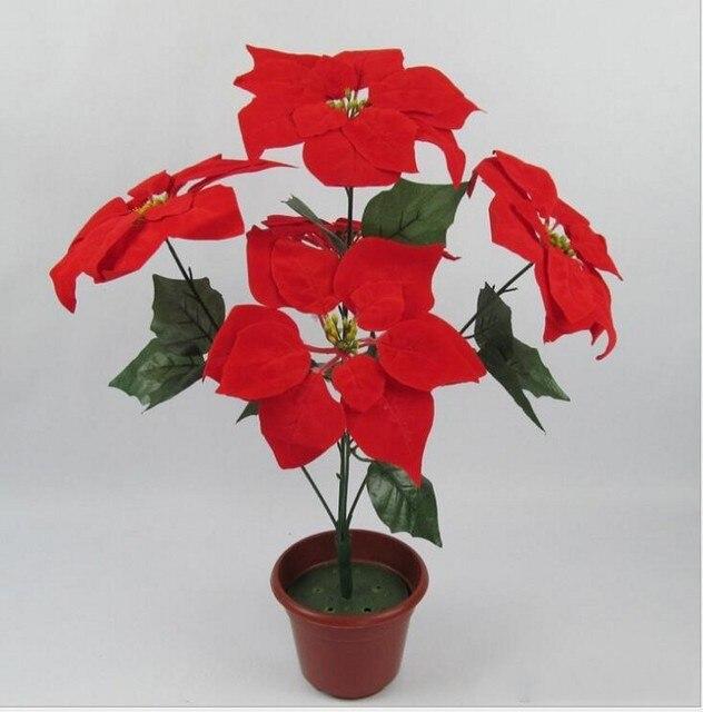 Kerst bloem poinsettia kunstmatige bloemen poinsettia thuis festival decoratiion bloem 45 cm 5 Head Poinsettia Bloem