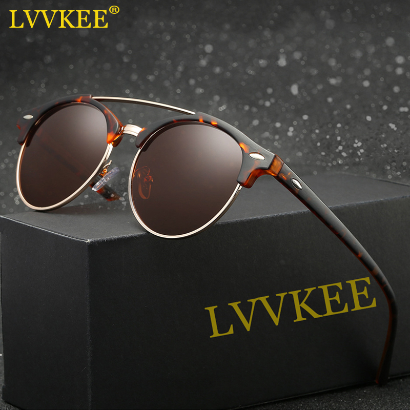 LVVKEE 2018 Nyeste stilarter Halvramme polariserede solbriller Kvinder / mænd Spejl Klassiske solbriller Høj kvalitet UV400 Oculos de sol