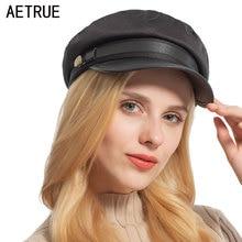 Hats Military-Hats Baseball-Cap Flat-Top Octagonal Black Fashion Women AETRUE for Girls