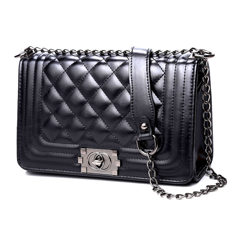 ФОТО Rhombus Chain Bag Fashion Women Bag PU Leahter Womens Crossbody Shoulder Bags Tide Satchel Bag