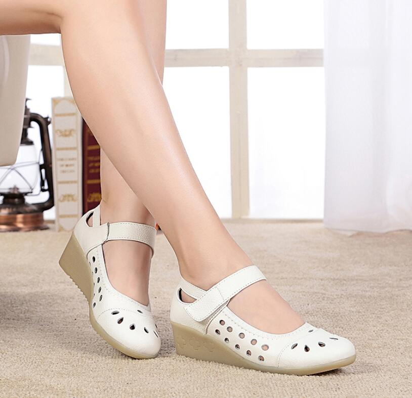 2017 handmade leather low with hollow out sandals shoes leather wedges soft bottom leisure shoes in the summer of mother ag46 Woman Shoes Genuine Leather Wedges Sandals Female Nurse Work Shoes Hollow Soft Bottom Skid Plus Size White Beige 33-41