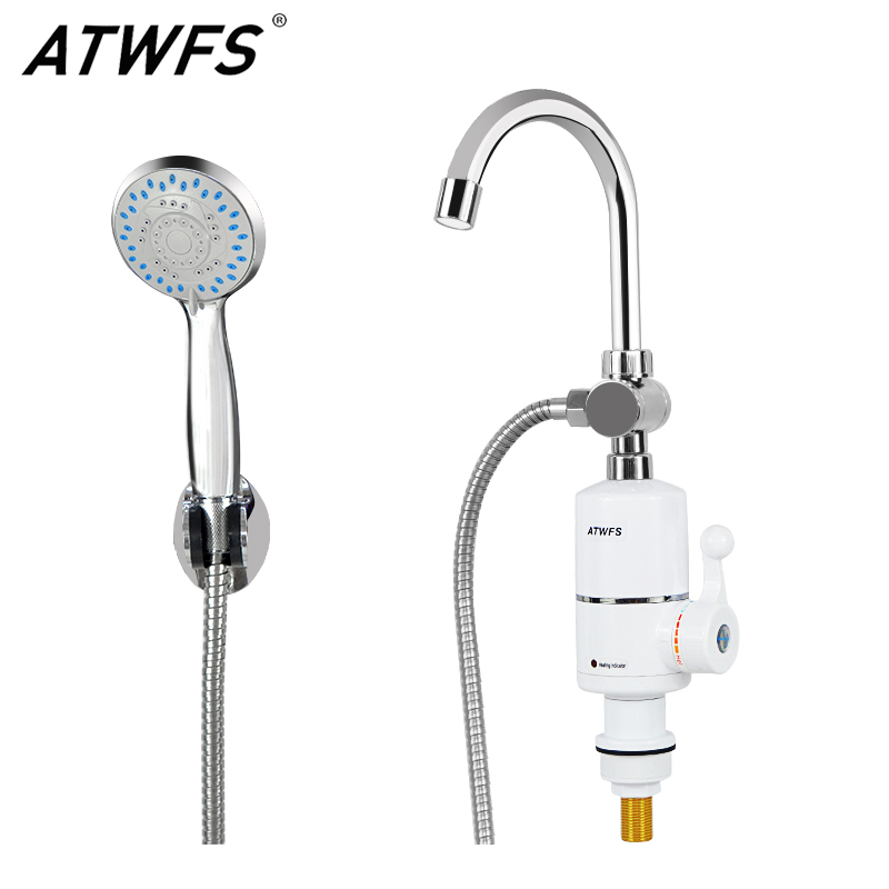 ATWFS Tankless Instant Water Heater Faucet Hot Water Shower Bathroom Instantaneous Pool Heater Kitchen Heating Tap 220v 3000w atwfs continuous instant tankless water heater electric flowing instantaneous shower hot water heater bathroom free sink shower