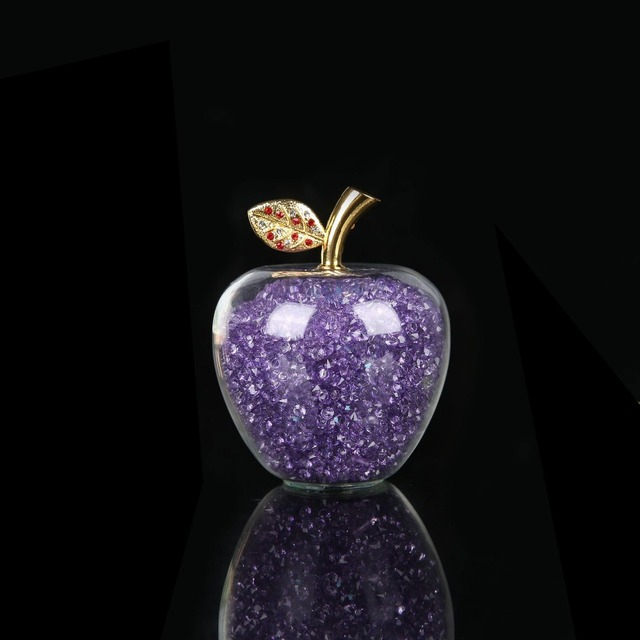 Colorful Crystal Craft Glass Apple Paperweight with Diamond Natural Stone Home Decor Ornament Fruit Figurines Gift Souvenir 3