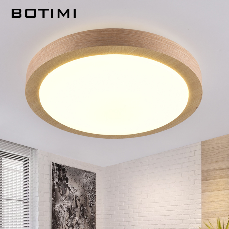 BOTIMI Modern LED Wood Ceiling Lights In Round Shape lamparas de techo For Bedroom Balcony Corridor Kitchen Lighting Fixtures
