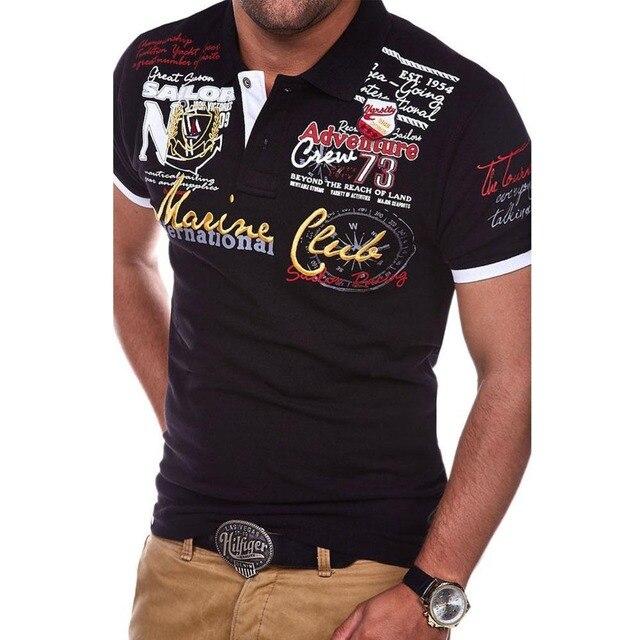 ZOGAA/мужская рубашка-поло с буквенным принтом, с короткими рукавами, брендовая Новая повседневная одежда
