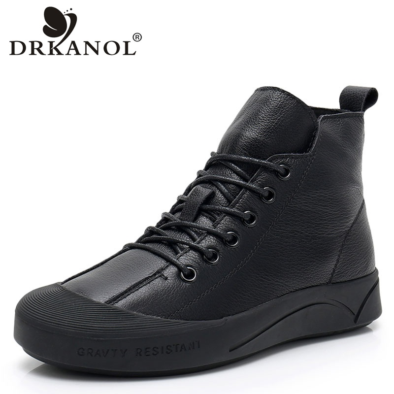 DRKANOL New Autumn Winter Women Boots 2019 Soft Genuine Cow Leather Lace Up Flat Ankle Boots