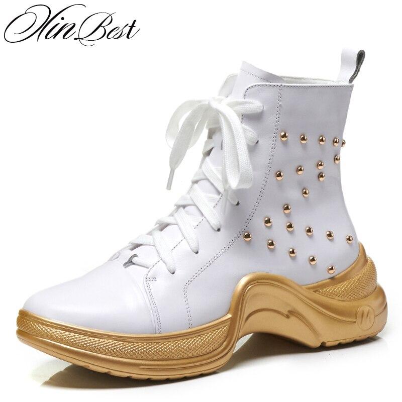 XinBest femmes bottes bout rond épais fond plat bottines femmes chaussures en cuir véritable à lacets Rivet chaussures pour femme