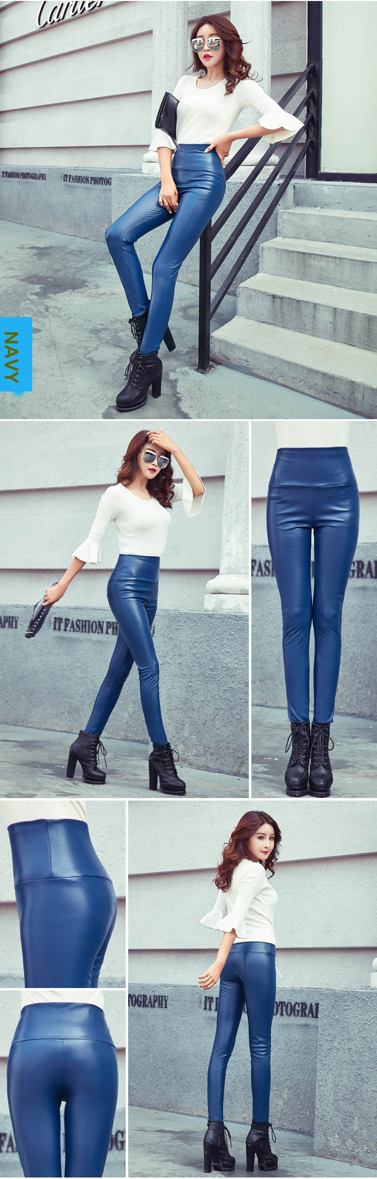 Autumn Winter Women Thin Velvet PU Leather Pants Female Sexy Elastic Stretch Faux Leather Skinny Pencil Pant Women Tight Trouser 41