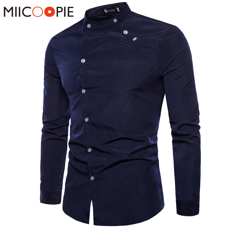 2018 Spring Autumn Men Dress Shirt Camisa Masculina Casual Fashion Tailored Double Plack ...