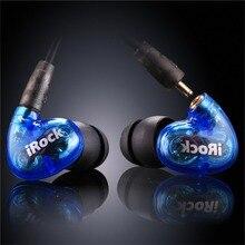 Ymdx irock a8 na orelha do fone de ouvido com fio transparente super bass estéreo fone duplo driver com microfone para o telefone inteligente 3.5mm plug
