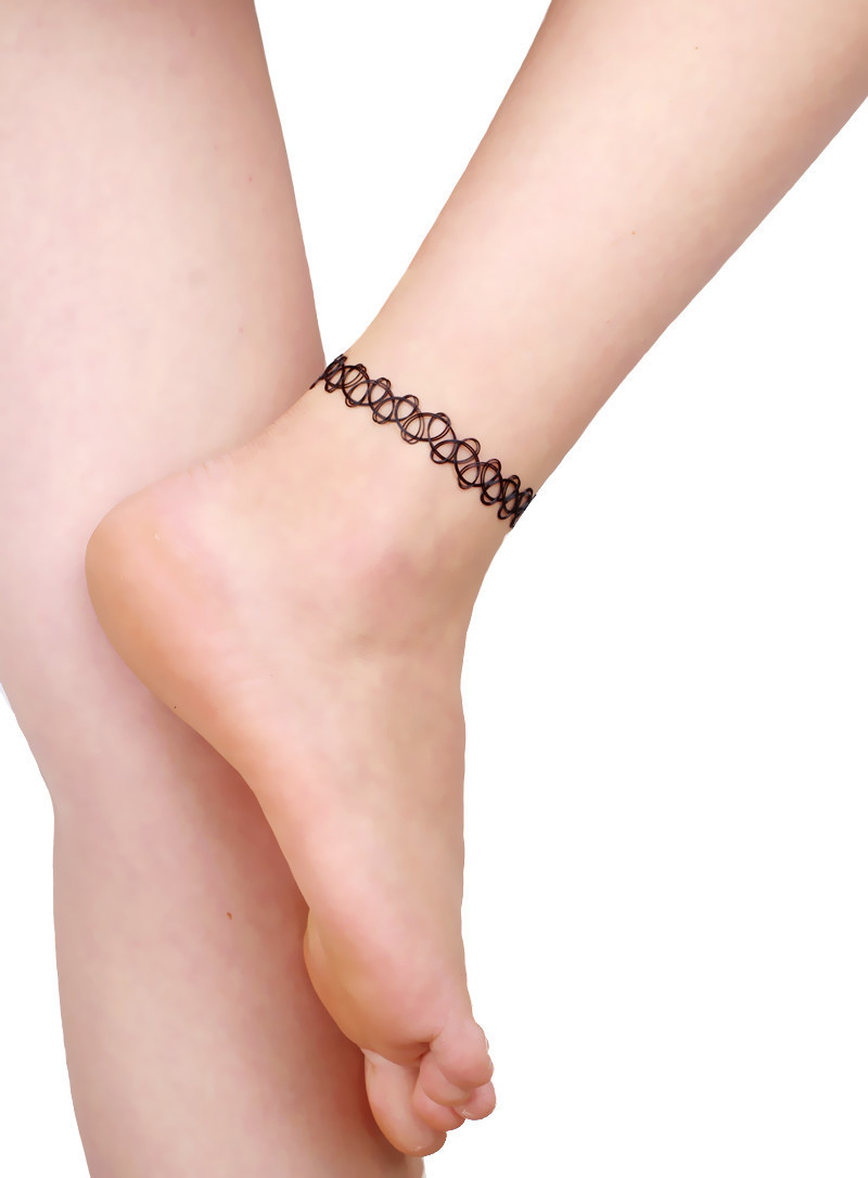 2018 Fashion Ebay Hot Selling Vintage Stretch Tattoo anklet Gothic Punk Grunge Henna Blace Elastic anklet