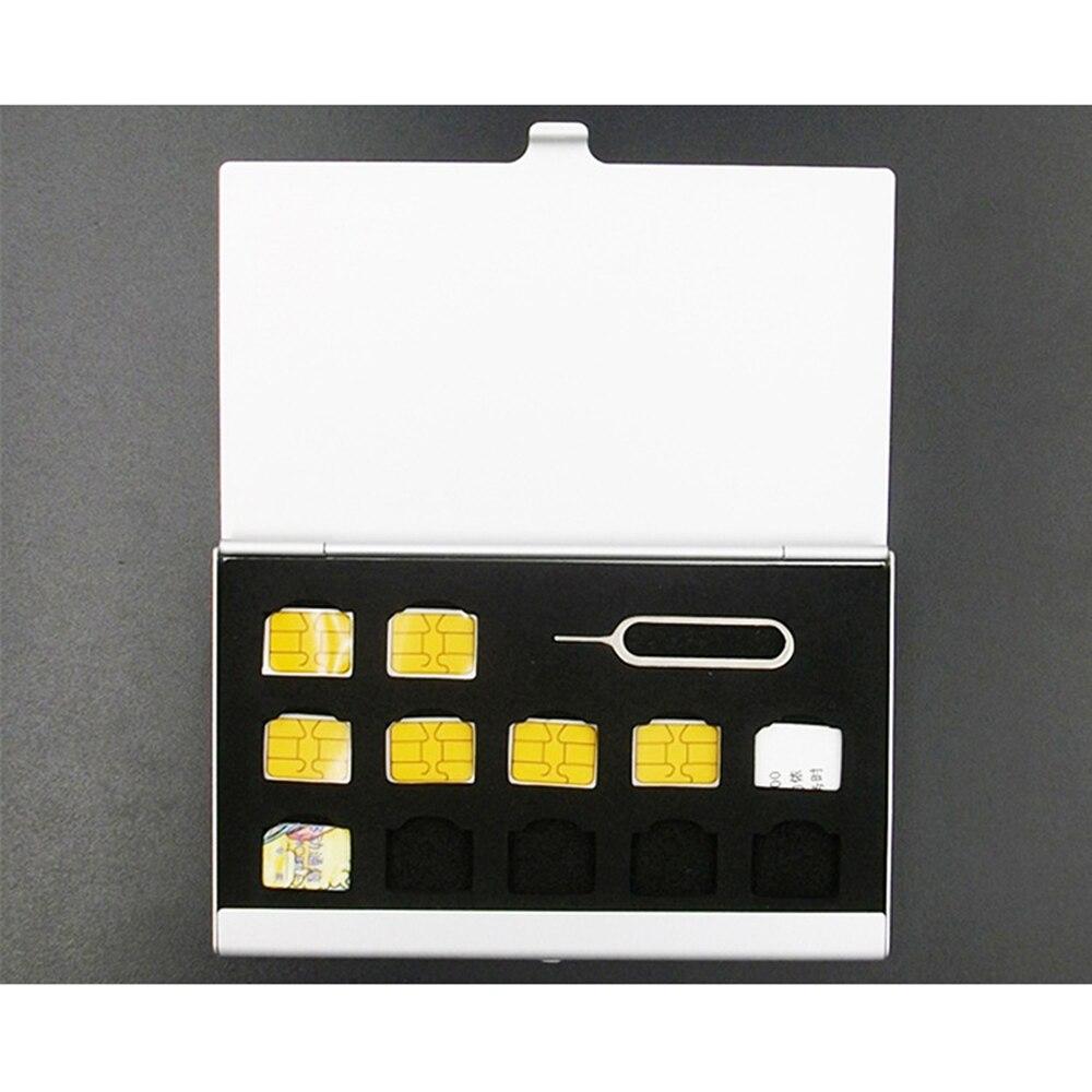 Boîte de rangement de carte SIM Micro broche Portable en aluminium pour Apple Samsung 56 téléphone mémoire carte SIM boîte de rangement étui protecteur