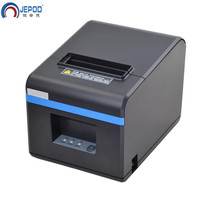 JEPOD XP N160II nowy przybył 80mm automatyczna gilotyna drukarka pokwitowań POS drukarki USB/LAN/USB + Bluetooth porty dla mleko herbata sklep w Drukarki od Komputer i biuro na