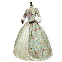 18th века Готический викторианской платье принцессы Флора с принтом с длинным рукавом Мария Антуанетта исторические Бальные платья костюм
