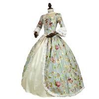 18th Century Gothic Victorian Princess Dress Flora Print Pattern Long Sleeve Marie Antoinette historical Ball Gowns Costume
