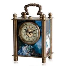 Античный окрашены резные механические Европейской Стиль Мода заводить Рука обмотки стол Часы Ретро Мода Для женщин подарочная коробка